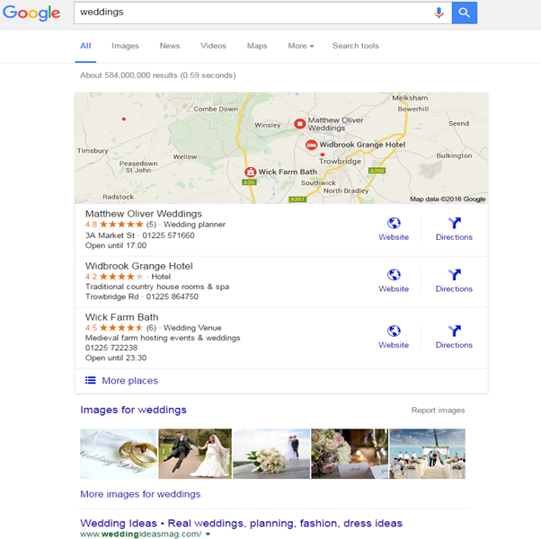 image search optimisation on universal results page