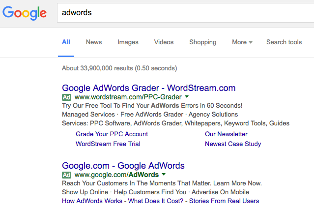 Google AdWords green label