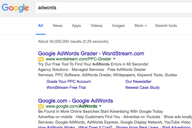 Google AdWords yellow label