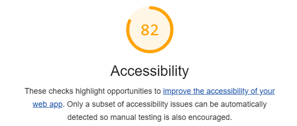 Screenshot of a Lighthouse report accessibility section with a score of 82